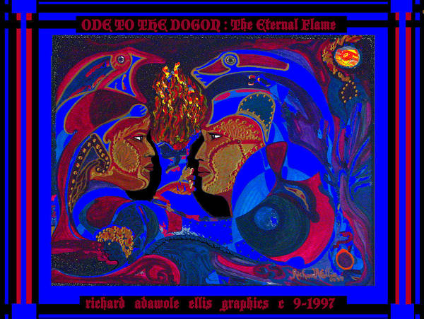 Abstract Realism Of Male And Female Profile Art Print featuring the painting Ode To The Dogon The Eternal Flame by Richard Adawole Ellis