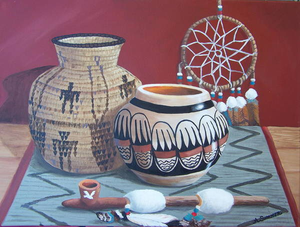 Native American Infuenced Art Print featuring the painting Native Artifacts by Audrie Sumner