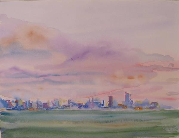 Dawn Art Print featuring the painting Miami Water by Christine Bohrer