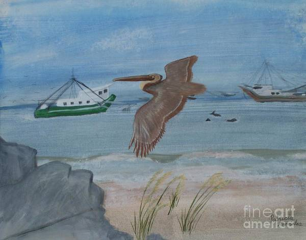 Grand Isle/grand Isle Louisiana/shrimping/beaches/pelicans/birds/water/wildlife/shrimp Boats/ Art Print featuring the painting Grand Isle Louisiana by Patricia Morales