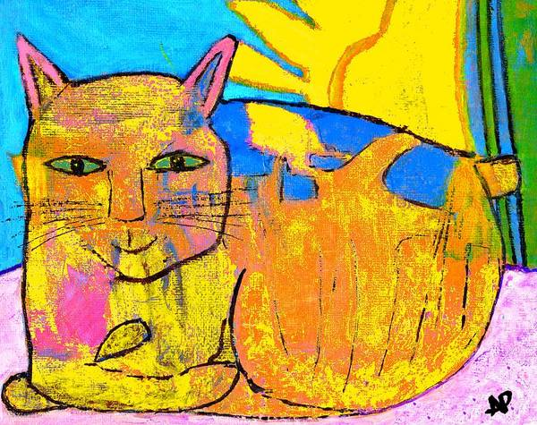 The Cat Posing On A Sunlit Windowsill Art Print featuring the painting Chat A La Fenetre by Annick Portal
