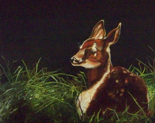 Deer Art Print featuring the painting Waiting For Mom by Audrie Sumner