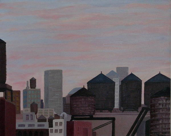 Manhattan Art Print featuring the painting Water Tank Gathering by Gary Conger
