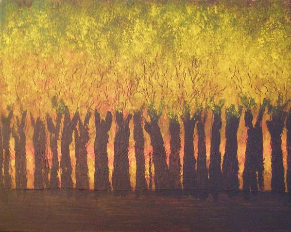 Abstract Expressionism Art Print featuring the painting October Trees At Sunset by Don Phillips