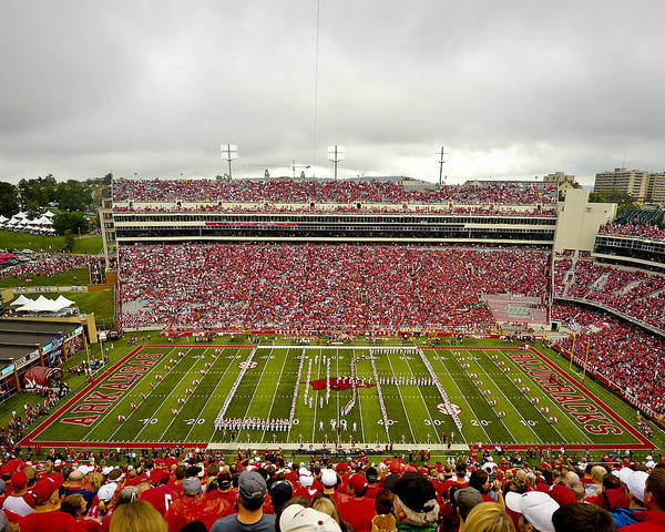 Razorbacks Art Print featuring the photograph Arkansas Marching Band Forms U-of-a At Razorback Stadium by Replay Photos