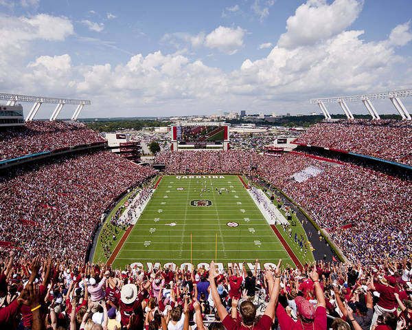Gamecocks Print featuring the photograph South Carolina View From The Endzone At Williams Brice Stadium by Replay Photos
