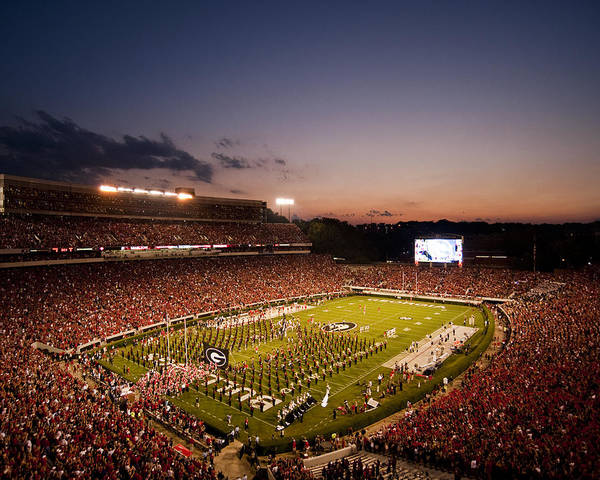 Georgia Art Print featuring the photograph Georgia Sunset Over Sanford Stadium by Replay Photos