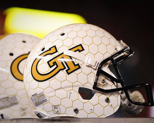 Yellow Jackets Art Print featuring the photograph Georgia Tech Football Helmet by Replay Photos