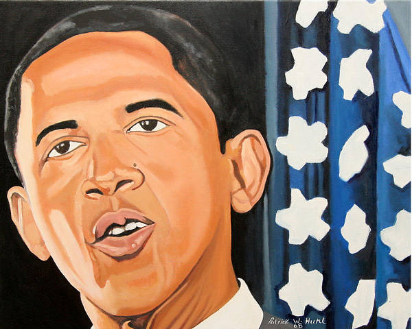Obama Paintings Print featuring the painting President Elect Obama by Patrick Hunt