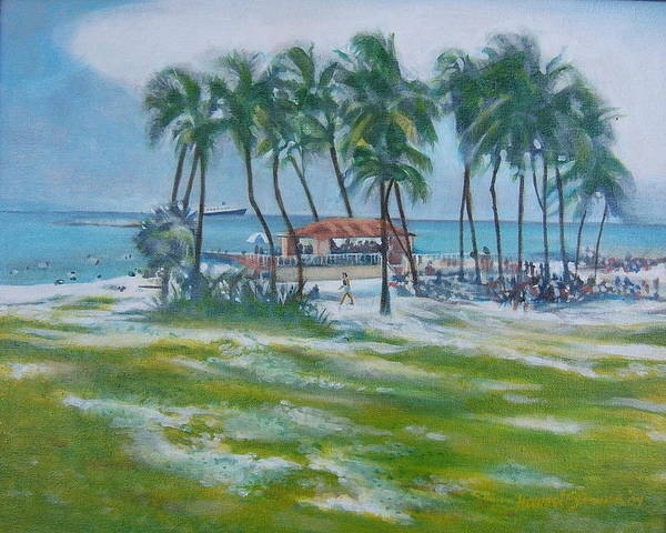 Beach Scene In The Bahamas Art Print featuring the painting Bahama Beach by Howard Stroman