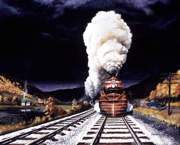 Train Art Print featuring the painting Racing The Storm by David Mittner