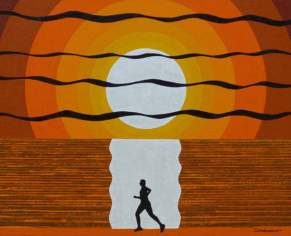 Jogger Art Print featuring the painting Sunrise Jogger by James Cordasco