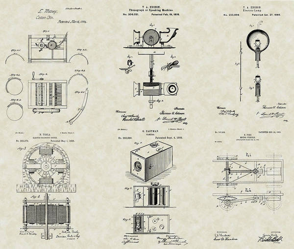 Famous Inventors Art Print featuring the drawing Inventors Patent Collection by PatentsAsArt