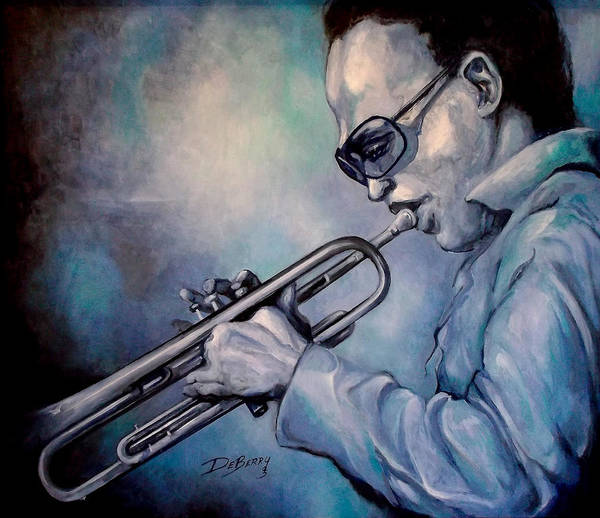Glecee Limited Edition Print Of Miles Davis Art Print featuring the painting All Blue Print by Lloyd DeBerry