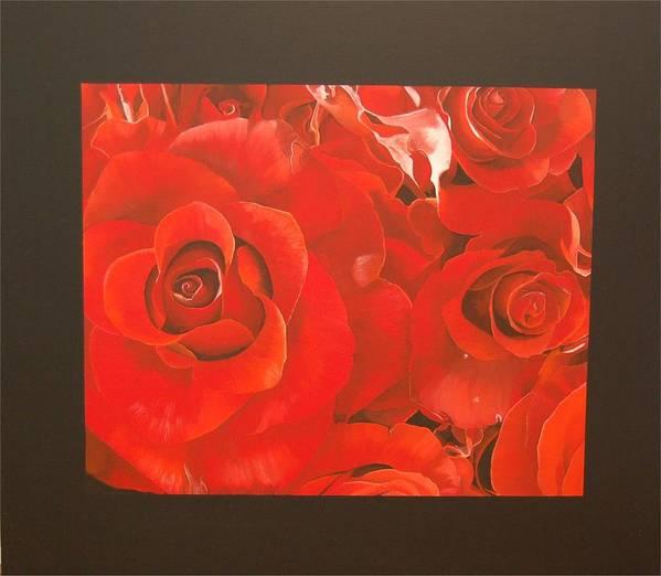 Red Roses-flowers Art Print featuring the painting Red Roses by Judith Hoof van
