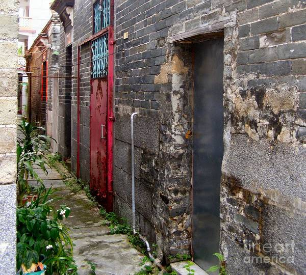 Door Art Print featuring the photograph Old Chinese Village Narrow Walkway by Kathy Daxon