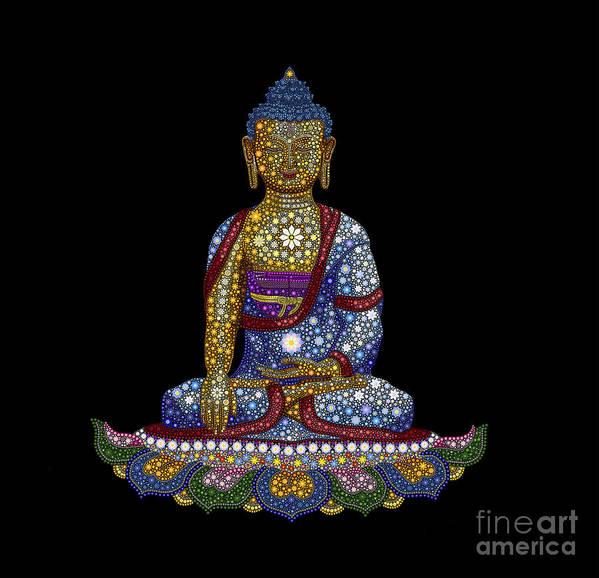 Buddha Art Print featuring the digital art Lotus Buddha by Tim Gainey