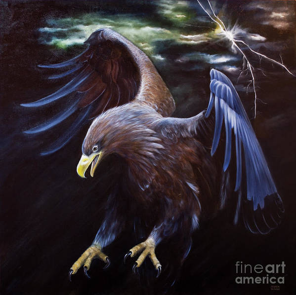 Thunder Art Print featuring the painting Thunder by Julie Bond
