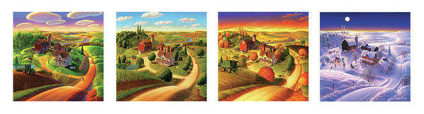 Four Seasons Art Print featuring the painting Four Seasons On The Farm by Robin Moline