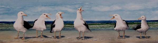 Seagulls Art Print featuring the painting Caw Cuss by Haldy Gifford