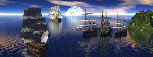 Bryce 3d Scifi Fantasy tall Ship Sailing Windjammer sailing Ship Sailing Art Print featuring the digital art Getting Underway by Claude McCoy