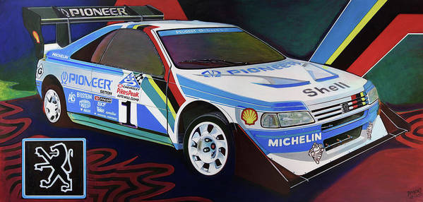 Peugeot Art Print featuring the painting Peugeot 405 T16 Gr Pikes Peak by D-mark-o