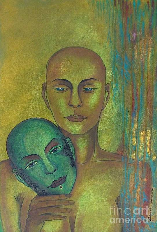 Figurative Art Print featuring the painting Masquerade by Padmakar Kappagantula