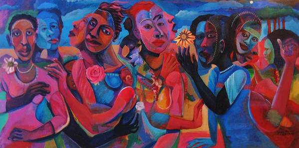 Figures Art Print featuring the painting Hot and Cool by Joyce Owens