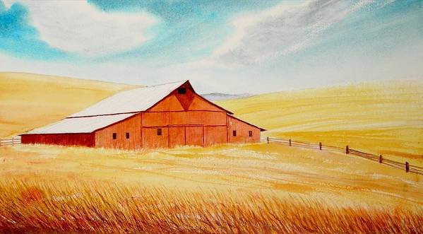 Wheat Art Print featuring the painting Palouse Air by Leonard Heid