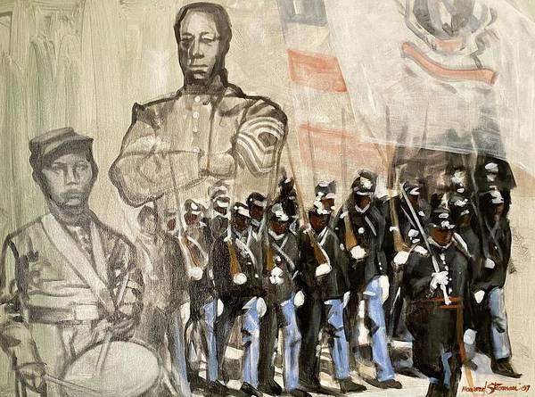 Black Civil War Regiment; Civil War; Black Infantry; Black Soldiers; All Black Infantry Regiments; 54th Massachusetts Infantry Regiment; 54 Massachusetts Art Print featuring the painting The 54th Massachusetts by Howard Stroman
