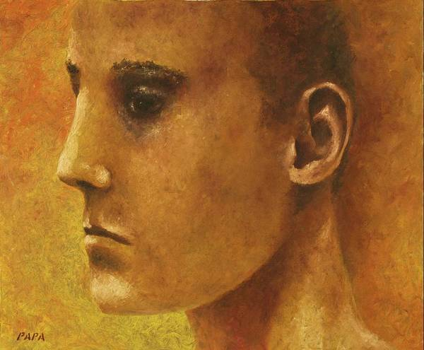 Face Art Print featuring the painting Golden Boy by Ralph Papa
