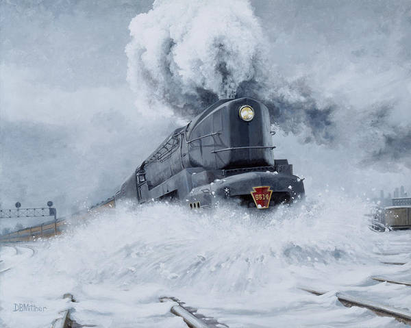 Trains Art Print featuring the painting Dashing Through the Snow by David Mittner