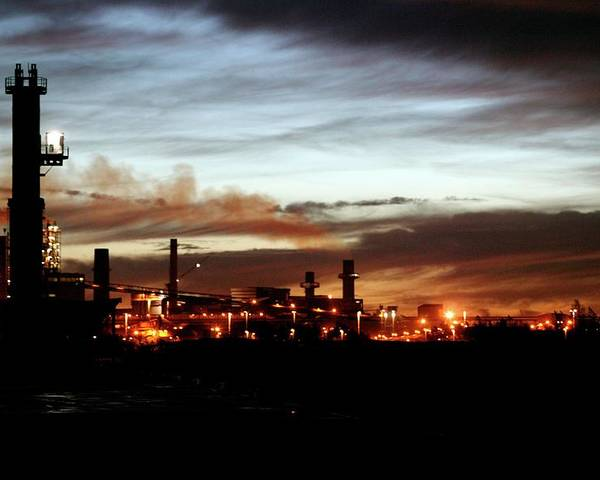 Steel Mill At Dusk by Christophe Vander Eecken/reporters/science Photo Library