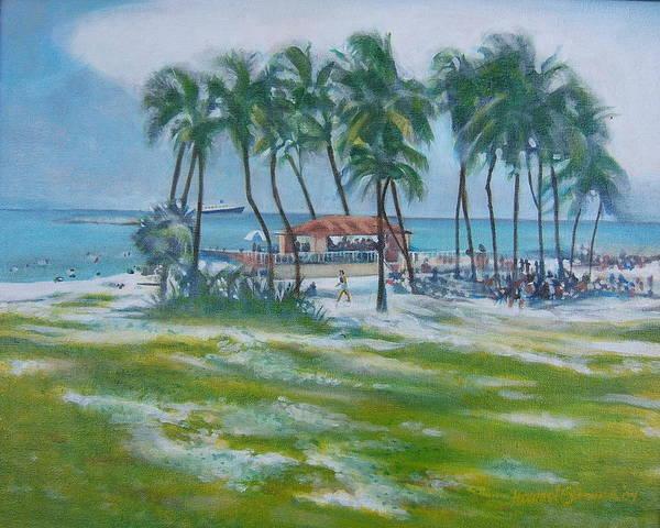 Beach Scene In The Bahamas Art Print featuring the painting Bahama Beach by Howard Stroman