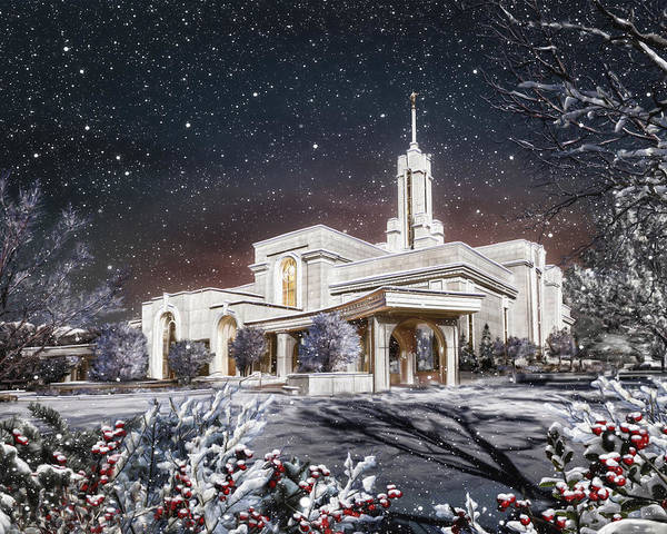 Mount Art Print featuring the painting Mount Timpanogos Temple #3 by Brent Borup