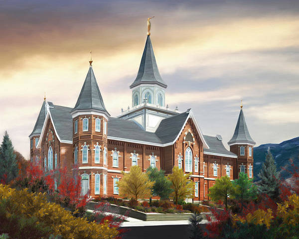 Provo Art Print featuring the painting Provo City Center Temple by Brent Borup