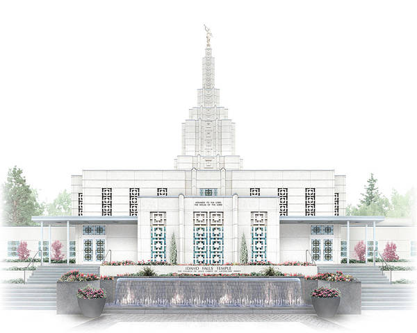Idaho Falls Art Print featuring the digital art Idaho Falls Temple - Celestial Series by Brent Borup