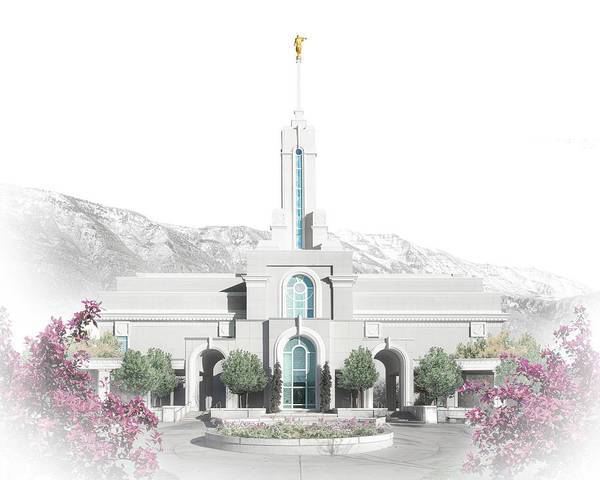 Timanogos Art Print featuring the digital art Mt. Timpanogos Temple - Celestial Series by Brent Borup