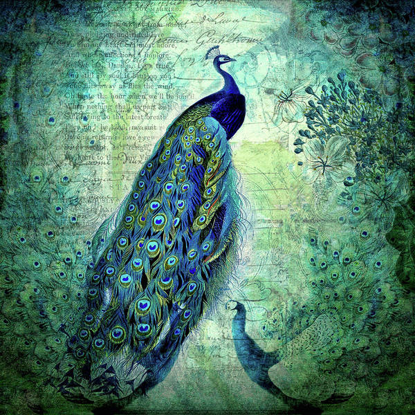 Vintage Peacocks and Botanicals Collage by Peggy Collins