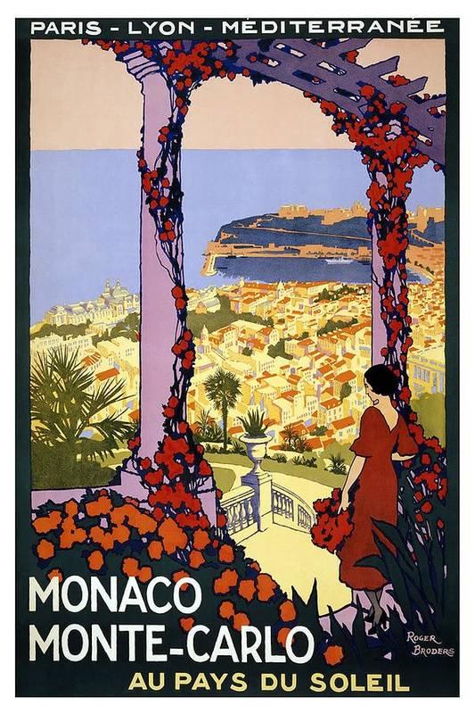 Monaco Monte-Carlo Au Pays Du Soleil - Retro travel Poster - Vintage Poster by Studio Grafiikka