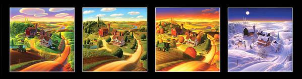 Four Seasons Art Print featuring the painting Four Seasons On the Farm/Black Border by Robin Moline