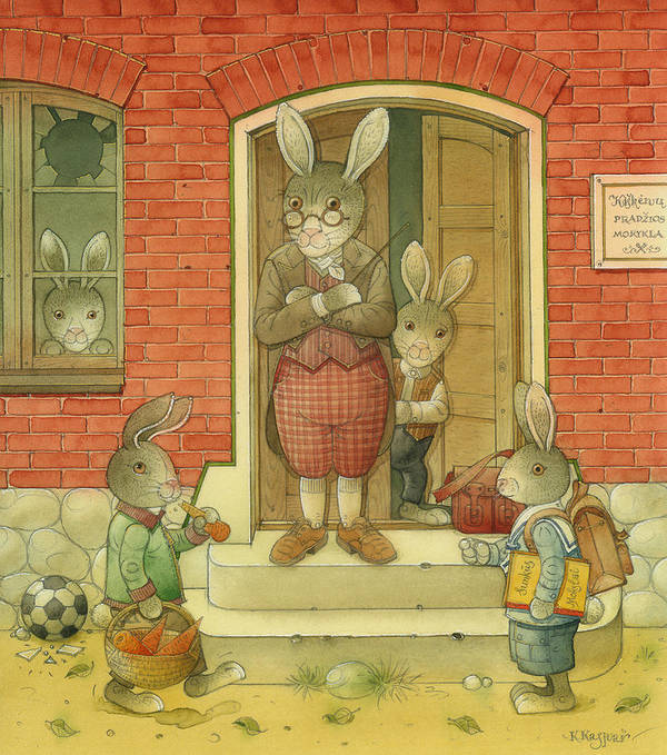 School Hare Red Teacher Art Print featuring the painting Hare School by Kestutis Kasparavicius