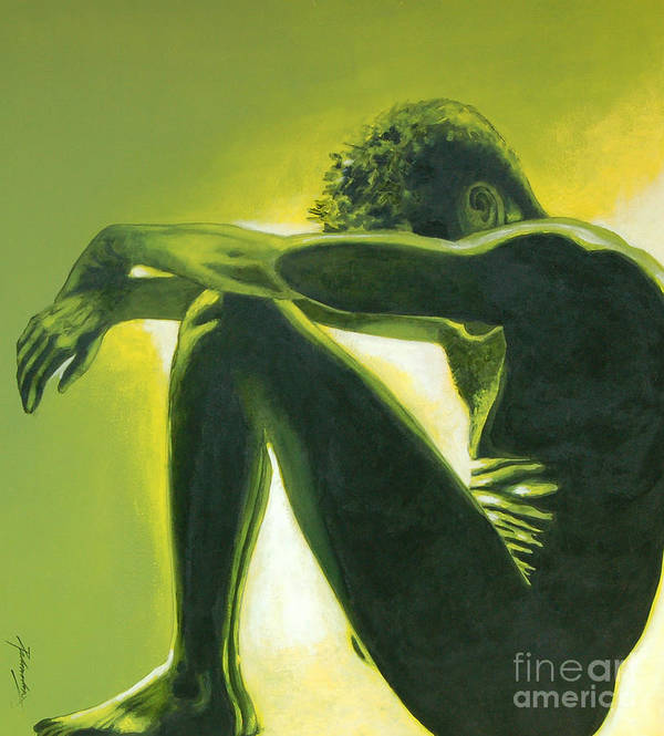 Figurative Art Print featuring the painting Soliloquy by Padmakar Kappagantula