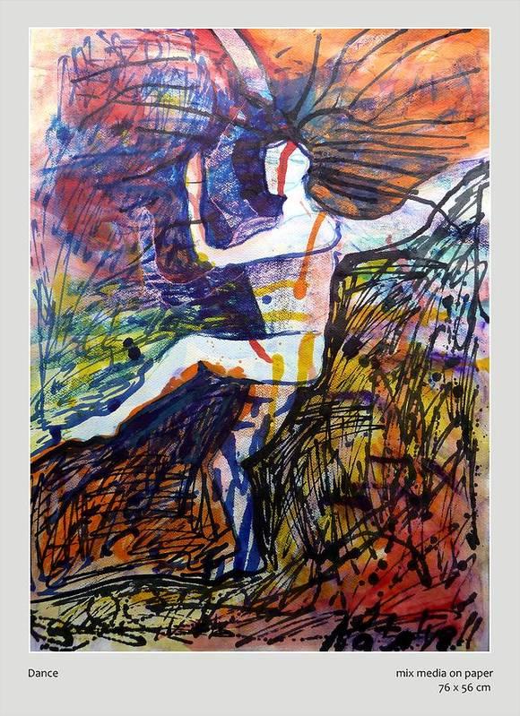 Natraja Art Print featuring the mixed media Dance by Natalya Bhasin