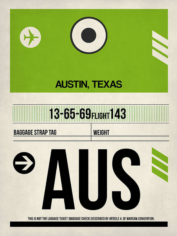 Austin Airport Poster 1 by Naxart Studio