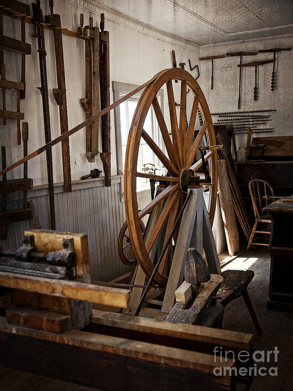 Old Wooden Treadle Lathe and Tools by Lee Craig