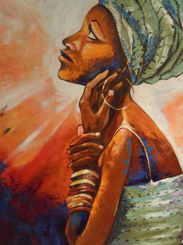 African Queen Print featuring the painting Queen by Michael Echekoba