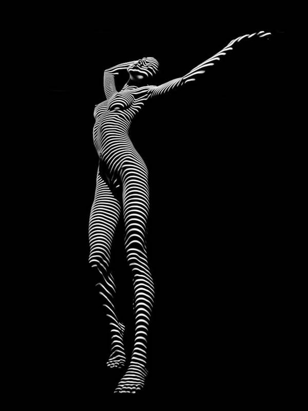 9705-DJA Zebra Woman Flow of Life Black White Striped Young Woman by Chris Maher by Chris Maher