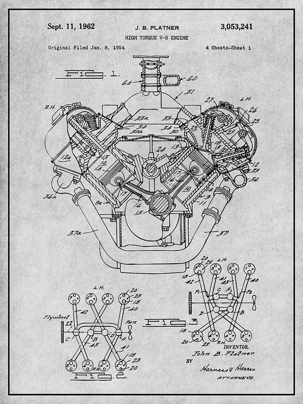 1954 Chrysler 426 Hemi V8 Engine Gray Patent Print by Greg Edwards
