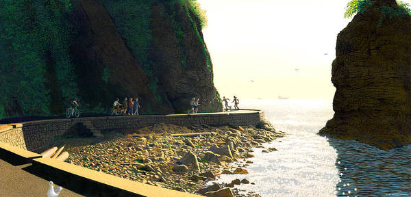Landscape Art Print featuring the painting On The Seawall Stanley Park by Neil Woodward